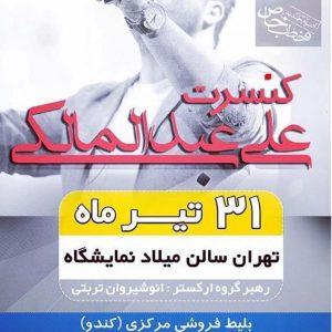 کنسرت علی عبدالمالکی در تهران 31 تیر 95